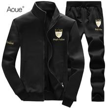 Aoue 2017 Men Winter hoodies Sporting Mens Tracksuits brand sportsuit 2pcs Sweatshirt black Sportswear hooded hoody