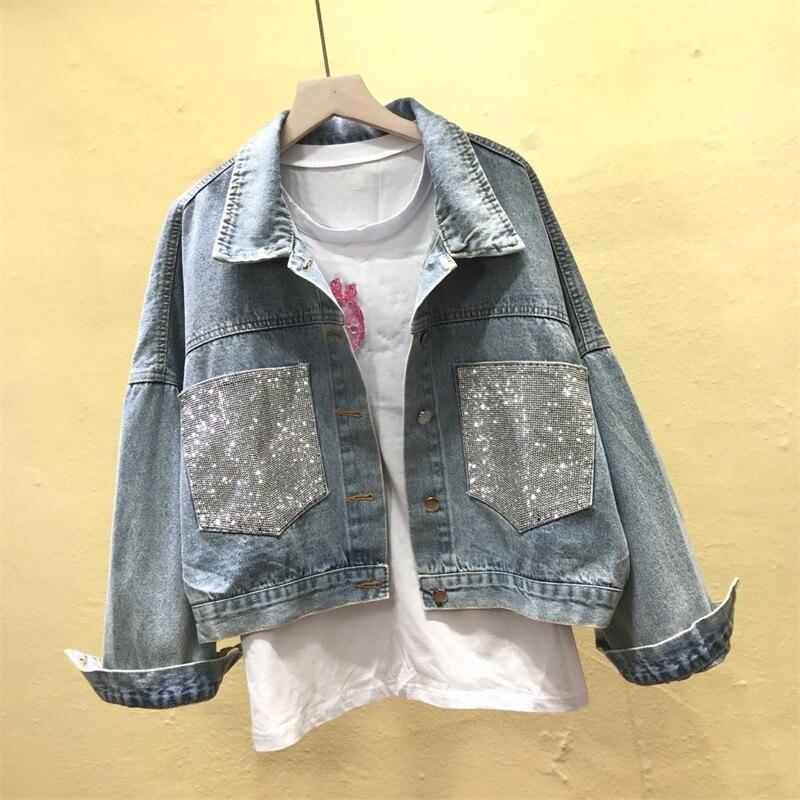 2019 New Denim   Jacket   Women Jeans Coats Ladies Loose Boyfriend Streetwear Harajuku Vintage Autumn Female   Basic   Outerwear R791