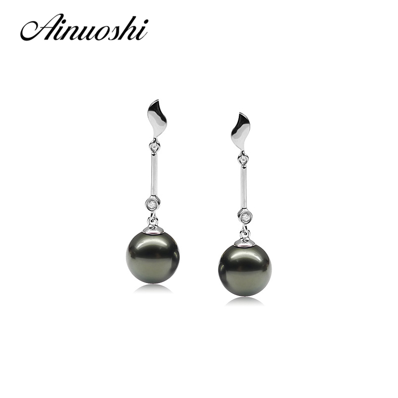 AINUOSHI 925 Sterling Silver Leaves Shaped Pearl Earring 9 5 10mm Natural Tahitian Black Pearls Round