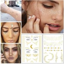 1 шт., индивидуальная Мода, одноразовые золотые тату-наклейки для лица, водонепроницаемые, бронзовые, красивые веснушки, блестящие инструменты для боди-арта, набор для макияжа