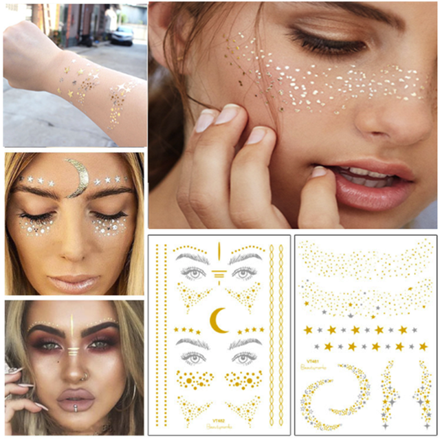 26c87dbb99d4a 1PC Personality Fashion Disposable Gold Face Tattoo Stickers Waterproof  Bronzing Beauty Freckles Flash Body Art Tools