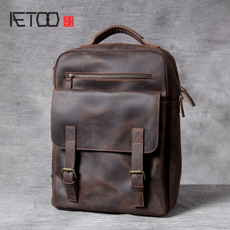 AETOO Retro Mad horse Leather shoulder bag, hand foreman layer cowhide backpack, male and female schoolbag, travel bagAETOO Retro Mad horse Leather shoulder bag, hand foreman layer cowhide backpack, male and female schoolbag, travel bag