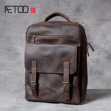 AETOO Retro Mad horse Leather shoulder bag, hand foreman layer cowhide backpack, male and female schoolbag, travel bag aetoo original large capacity mad horse leather bag male cowhide retro travel luggage bag leather shoulder shoulder men bag