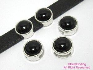 Плоский кожаный слайдер 10 мм с черным агатом