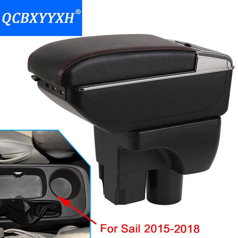 For Chevrolet Sail 2015-2018 Armrest Center Storage Box Black Gray Cream Color ABS Leather With Cup Winner Ashtray Accessory qcbxyyxh for chevrolet sail 3 armrest central store content storage box with cup holder ashtray abs leather accessory 2015 2018