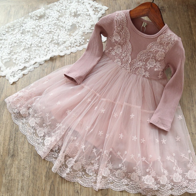 4 7 8 9 10 Years Children Girls Lace Long Sleeve Girl Dress 2018 Autumn Winter Pink Kids Princess Birthday Party Casual Clothes купить в Москве 2019