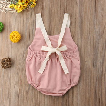 Summer Bowknot Backless Romper Casual Plain Outfit For 0-24 Months Baby 2