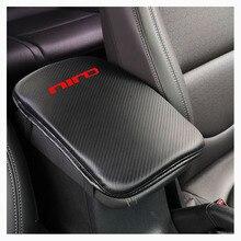 Углеродное волокно текстура из искусственной кожи Автомобильная центральная консоль подлокотник сиденье коробка коврик для автомобиля защитный Автомобиль Стайлинг для Kia Niro