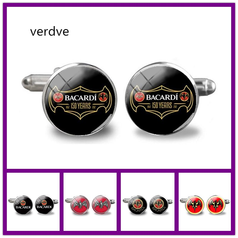 VERDVE 2018 New Bacardi logo Cufflinks Men Shirt Accessory Hand craft Cuff Wine Symbol Cufflink Silver Jewelry Wedding Gifts