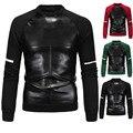 2016 мода O шеи черный искусственная кожа толстовка кожа рукав футболка мужчины хип-хоп лоскутная длинным рукавом пуловеры 3XL