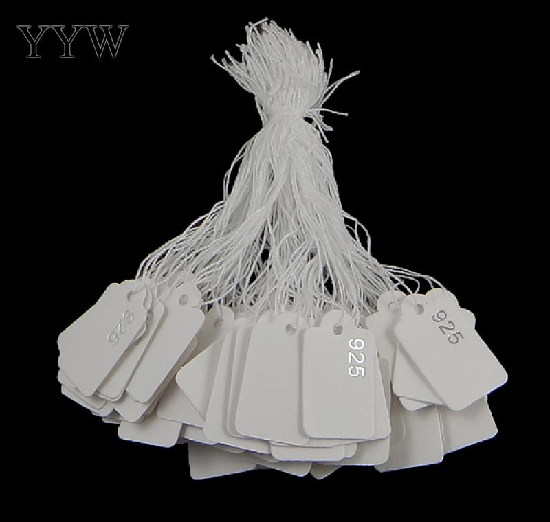 500pcs Price Tags For Jewelry With 4inch White Cotton String 16x26x0.3mm Paper Label Print 925 Bracelet Rings Earring Card