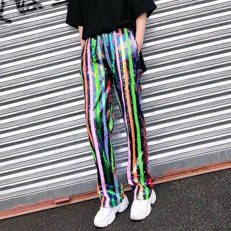 0cbcda84 Rainbow Color Block Sequined Stripe Hip Hop Streetwear Sequin Loose Straight  Pant Punk Harajuku Fashion Trouser
