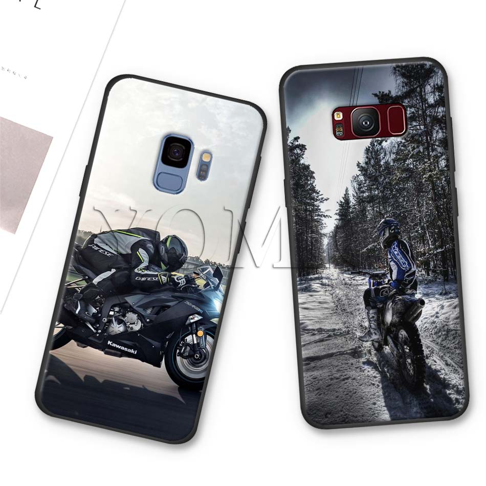 Moto Cross motorcycle sports Black Silicone Case for Samsung Galaxy S10 S10e S8 S9 Plus S7 A40 A50 A70 Note 8 9 Soft Cover Case in Fitted Cases from Cellphones Telecommunications