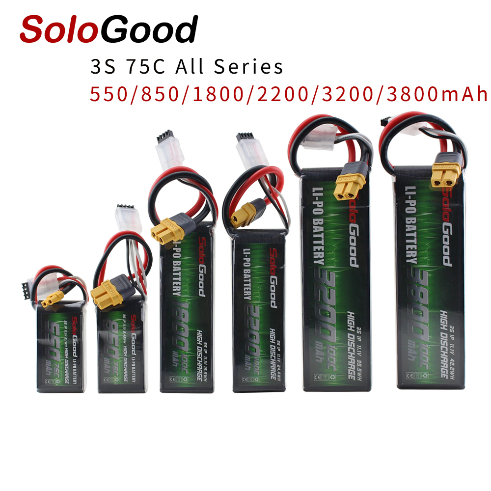 SoloGood <font><b>Lipo</b></font> Battery <font><b>3S</b></font> Series 550mAh 850mAh 1800mAh <font><b>2200mAh</b></font> 3200mAh 3800mAh for RC Racing Drone FPV Multicopter Fixed-wing image