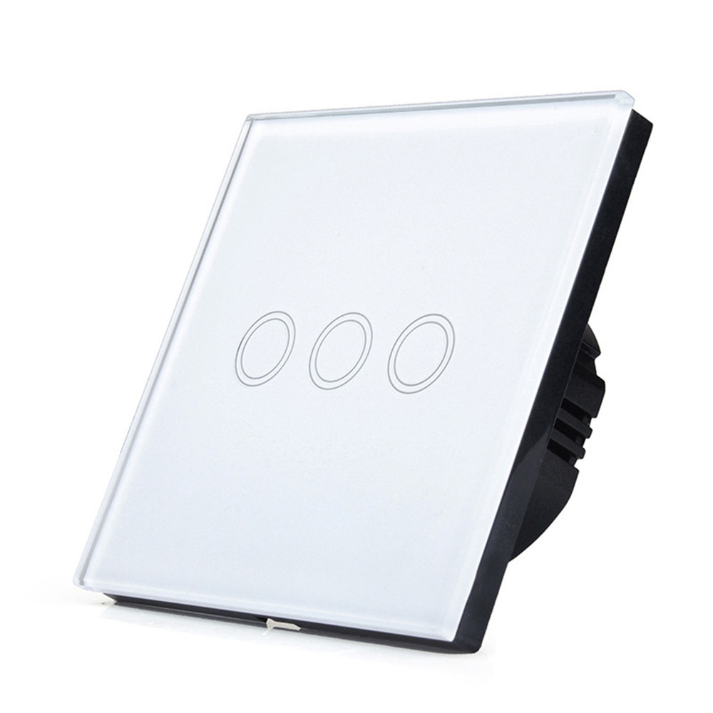 New EU Type Wireless Remote Control Touch Switch 3 Gang 1 Way,  Smart Wall Switch, Glass Panel, no Remote Controller smart home us black 1 gang touch switch screen wireless remote control wall light touch switch control with crystal glass panel