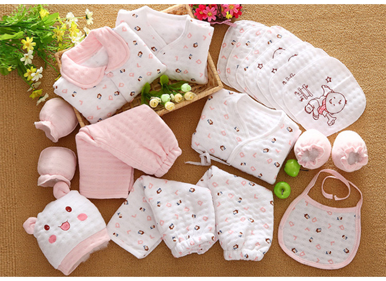 19 Pcs/Set Cotton Newborn Baby Girl Clothes Winter Autumn Baby Boy Clothing Set Cartoon Print New Born Gift newborn baby boy girl 5 pcs clothing set cotton cartoon monk tops pants bib hats infant clothes 0 3 months hight quality
