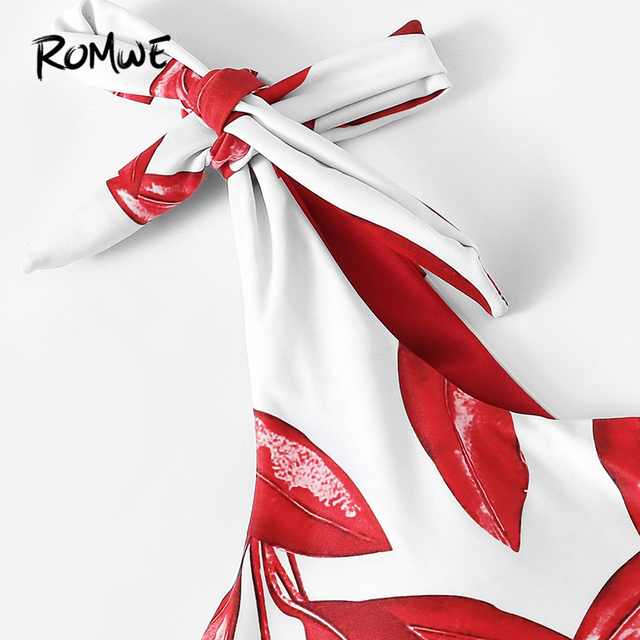Romwe Спорт Красный Лист Печать завязывается одно плечо низкая посадка набор с бикини для женщин купальники со съемным ремешком 2019 купальный ... 3