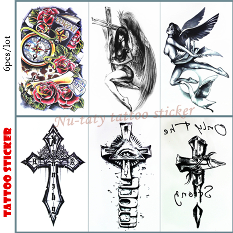 Nu-TATY Angel cross Temporary Tattoo Body Art Arm Flash Tattoo Stickers 12*20cm Waterproof Tatto Henna Fake Tatoo