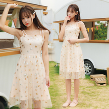 EAD Transparent Mesh Women Holiday Dress 2019 Summer Spaghetti Strap Sexy Dresses Embroidery Elegant Sleeveless Robe Female