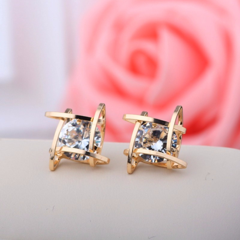 New Square explosion models zircon earrings fashion crystal earring copper Tic Tac Toe Free Shipping