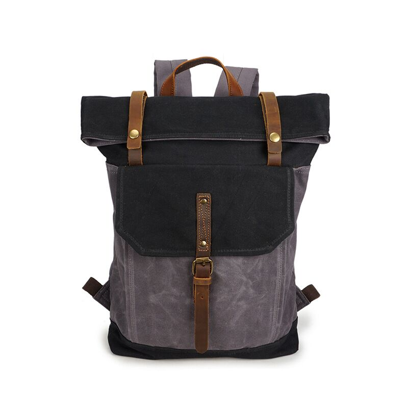 TangDe 2019 Unisex Backpack Retro Waterproof Canvas Laptop Roll top Extra space Durable Outdoor Rucksack Mochila