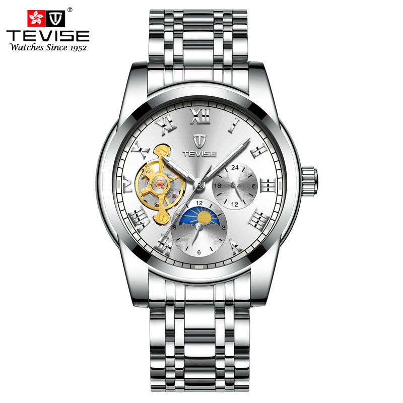 TEVISE Mens Automatic Self-Wind Watches Stainless Steel Mechanical Moon Phase Tourbillon Fashion Casual Luxury Wristwatch цена