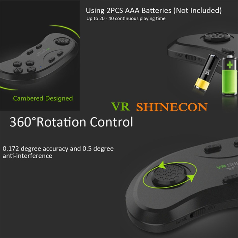 New Original VR Shinecon Bluetooth Remote Controller Wireless Gamepads Mouse Selfie Shutter 3D Game for Smartphone Tablet TV BOX (12)