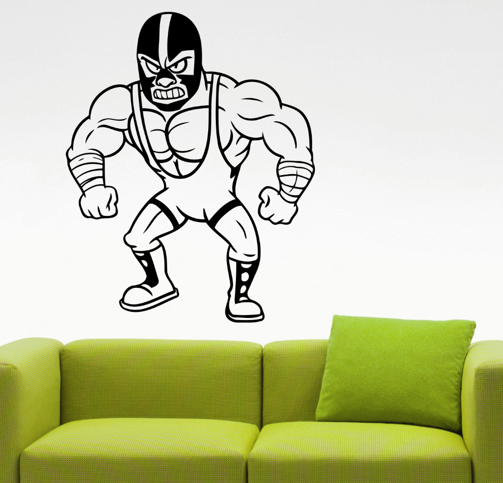 Mexican wrestler wall decal gym sports wall stickers home for Room decor 5d wall stickers