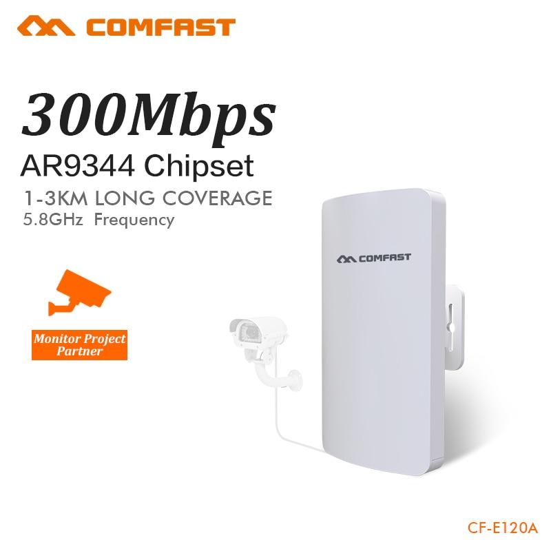 COMFAST brezžični most 5.8ghz 300mbps mini zunanji CPE Wifi usmerjevalnik gor IP kamera projekt 1-2km dolgo območje ojačevalnik CF-E120A