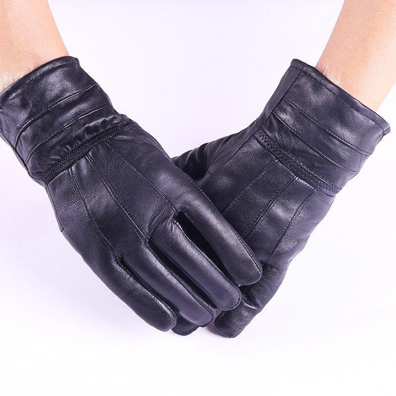 Herren-handschuhe Männer Frauen Winter Echtem Leder Verdicken Pelz Kaschmir Warme Handschuhe Männer Schaffell Touchscreen Schwarz Driving Handschuhe Fäustlinge L98 Strukturelle Behinderungen