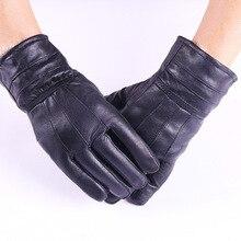 Men Women Winter Genuine Leather Thicken Fur Cashmere Warm Gloves Men's Sheepski