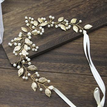 Panna młoda złoty liść ślubna opaska do włosów Crystal Pearl spinki do włosów z stroikiem zestaw opasek do włosów biżuteria ślubna akcesoria do włosów tanie i dobre opinie JETTINGBUY Ze stopu cynku Kobiety Bride Comb FAIRY TRENDY Hairwear Moda Symulowane perłowej