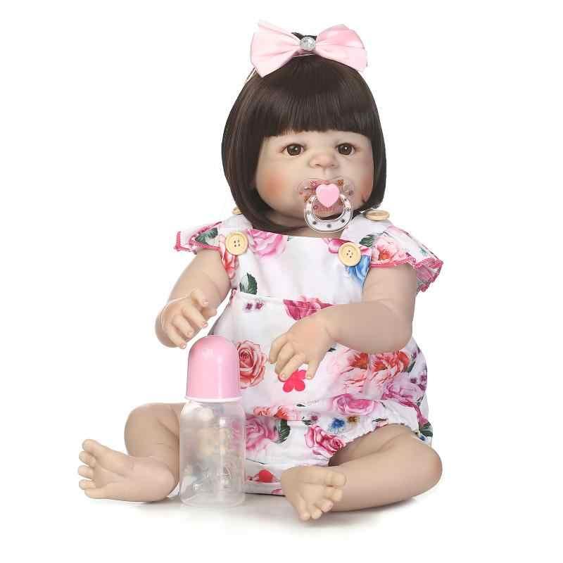 """56 см новый стиль волос 22 """"прекрасные дети куклы для продажи силиконовые куклы для новорожденных и малышей возрождается девушки игрушки подарок на день рождения bonecas Juguetes"""