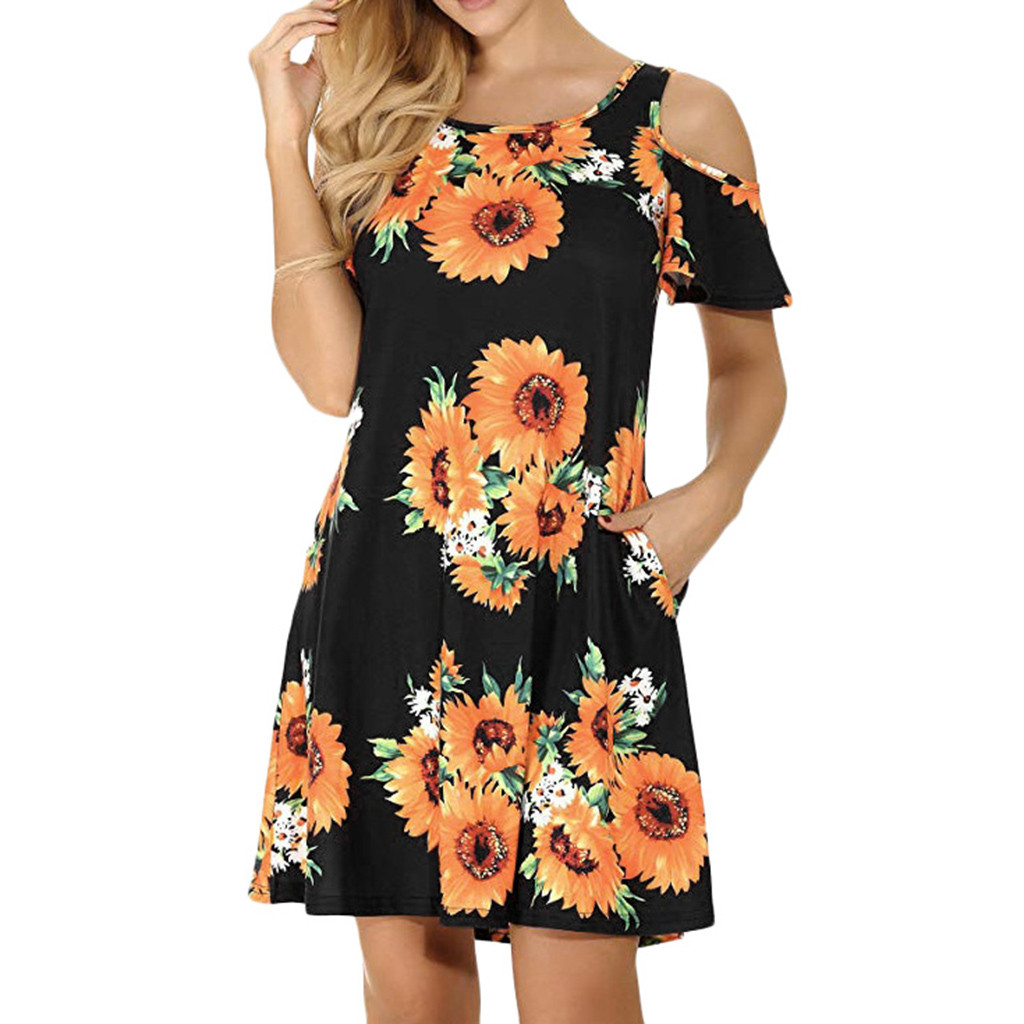 Women's Casual Off Shoulder Dress Short Sleeve Flower Print  Loose Summer Mini Dress Fashion beach dresses vestidos verano 2019