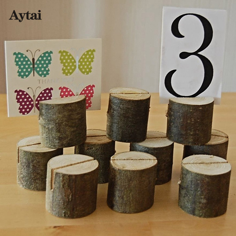 Aytai 20pcs Wooden Wedding Table Number Holder Stand Place Card Clips Wedding Table Decoration Event Party Supplies