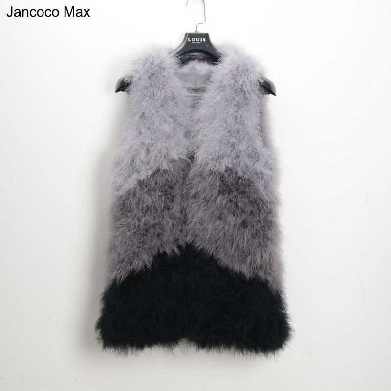 Jancoco Max S1425 Новые разноцветные Жилет из натурального меха Настоящее перо страуса меховой жилет Для женщин мода розничная/оптовая продажа