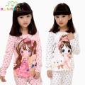 Girls Long Sleeves Cartoon Girl Pajama Sets for Autumn 2017 New 100% Cotton Children Pyjamas Kids Girls Lovely Sleepwear Set