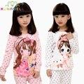 Muchachas de la Manga Larga de Dibujos Animados de pijamas de la Muchacha para el Otoño 2017 Nueva 100% Algodón Pijamas de Los Niños Niños Niñas Encantadora Ropa de Dormir Conjunto