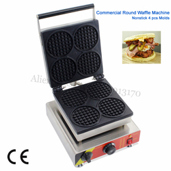 Waffle machine with 4 pcs moulds commercial stainless steel round shape waffle maker snack machine 110v/220v CE