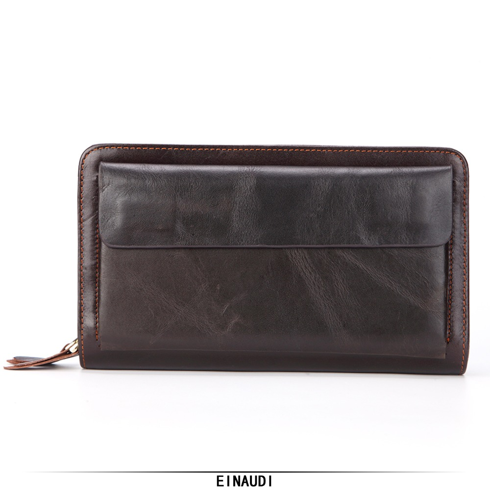 New Mens Genuine Leather Wallets Man Double Zipper Clutch ID Card Holder Male Long Purse Cell Phone Pocket Boy Handbag Money Bag цена