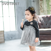 Dvotinst Newborn Baby Girls Clothes Bodysuits Lace Dresses Yarn Dress Western Style Cute Outfits Infant Toddler Jumpsuit Costume