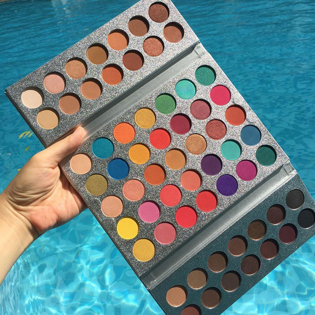 Beleza vitrificada 63 cores brilho luminoso sombra de olho maquiagem pallete à prova dhighágua highlighte fosco sombra paleta em pó