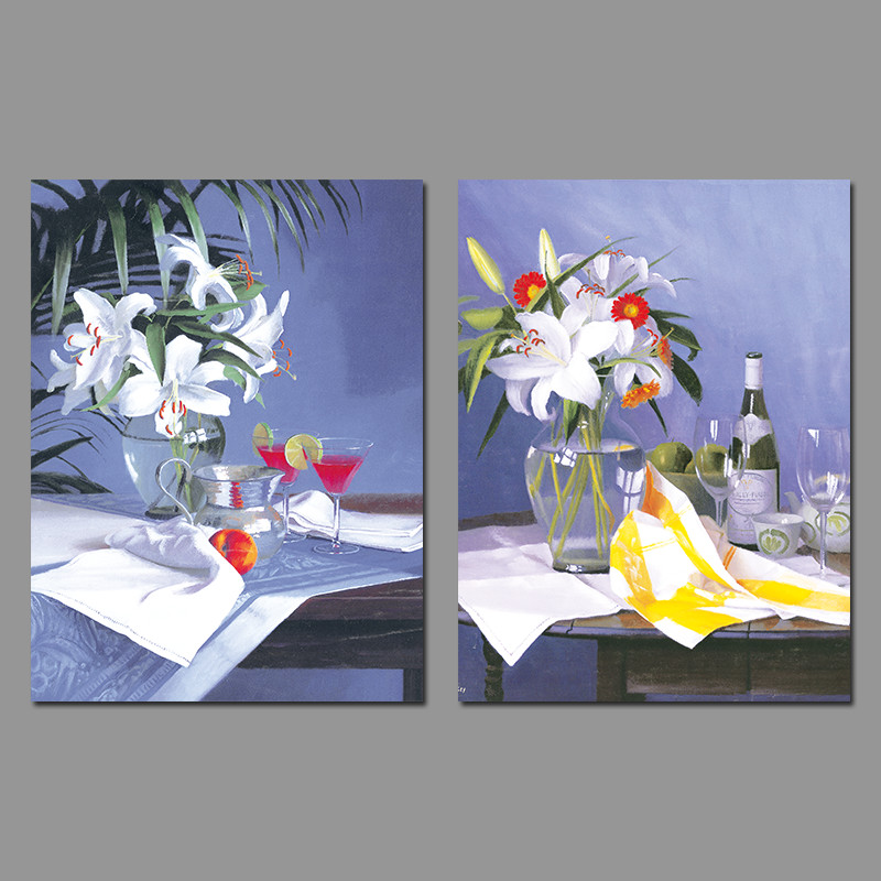Still Life Red Wine Glass Flowers White Lily Vases Decoration Wall