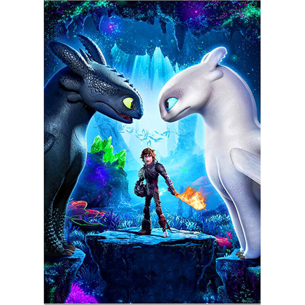 Fashion Diamond Embroidery Cross Stitch 5D Diy Diamond Painting Cartoon dragon Movie poster Mosaic Wall sticker children gifts image