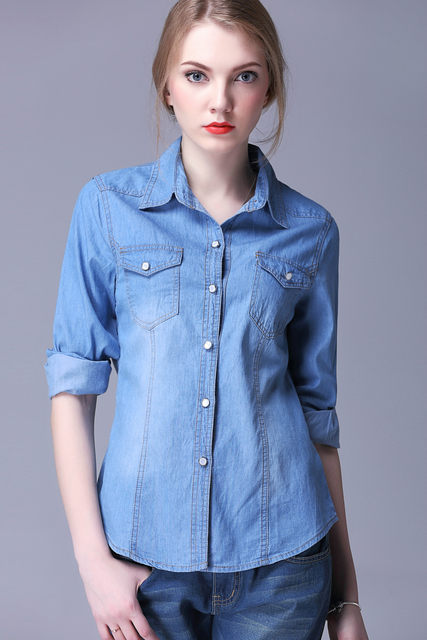 Online Shop spring and autumn Womens Chambray denim Shirts Jeans ...