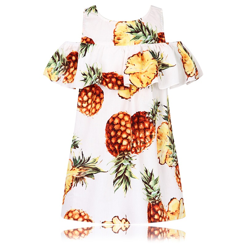 Summer Dress Girl Vestidos Print Pineapple Dress Girls Children Clothing Princess Kids Costume Dresses Girls Clothes 8 Years карманное зеркальце с принтом коллекция elole design белый фиолетовые и желтые цветы