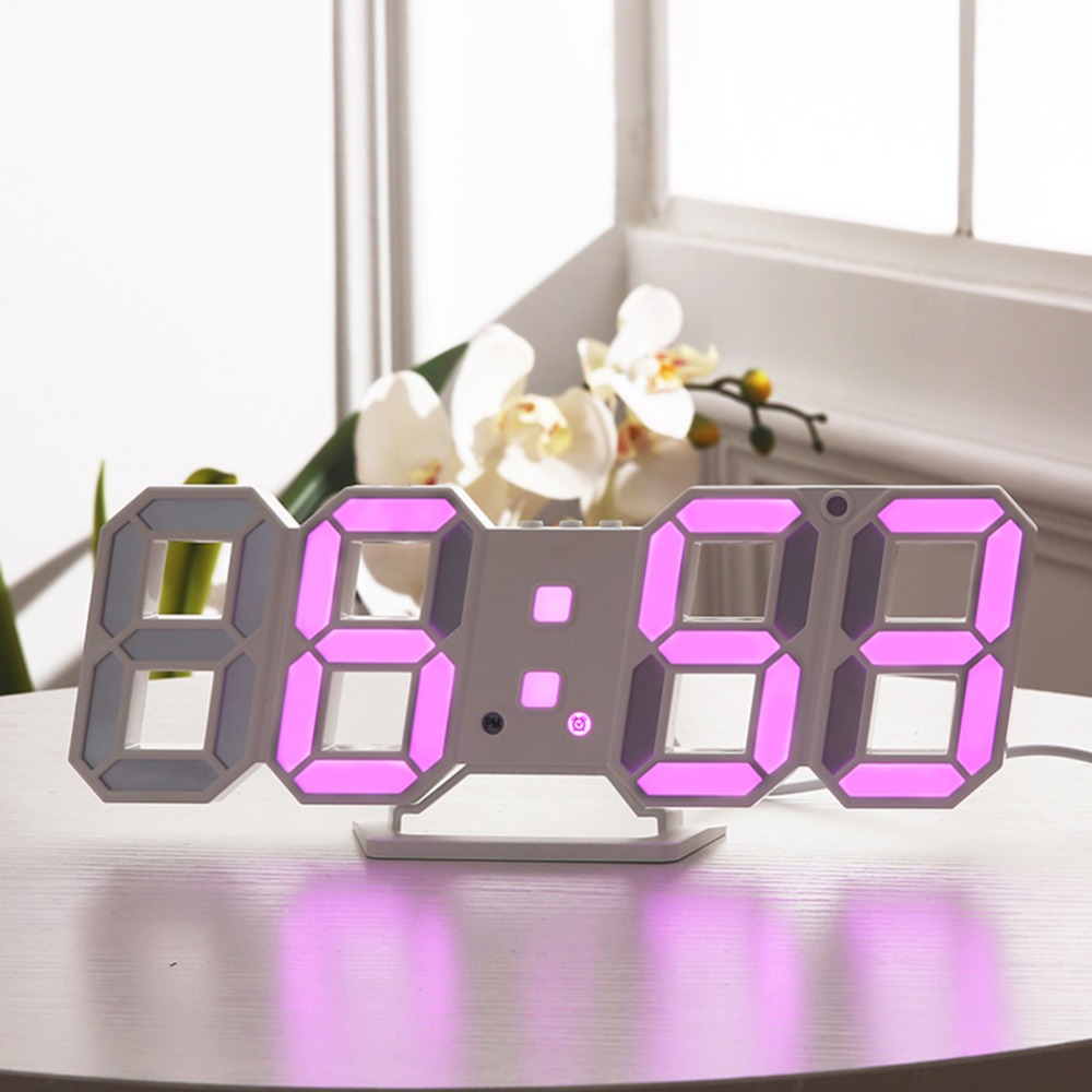 3D LED Moderen Wall Clocks Display 3 Brightness Levels Dimmable Nightlight Snooze Function for Home Kitchen Office#252761 image