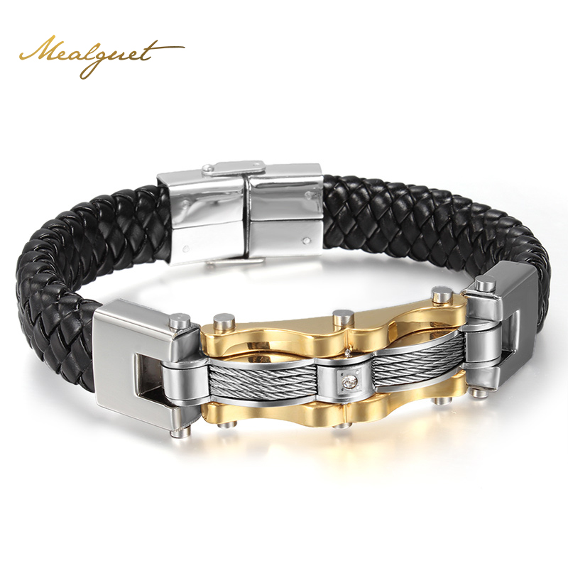Meaeguet Leather Gold-Color Men Bracelets