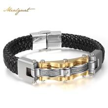 Meaeguet Leather Gold-Color Men Bracelet Fashion Male Vintage Accessories Bracelet Men Jewelry