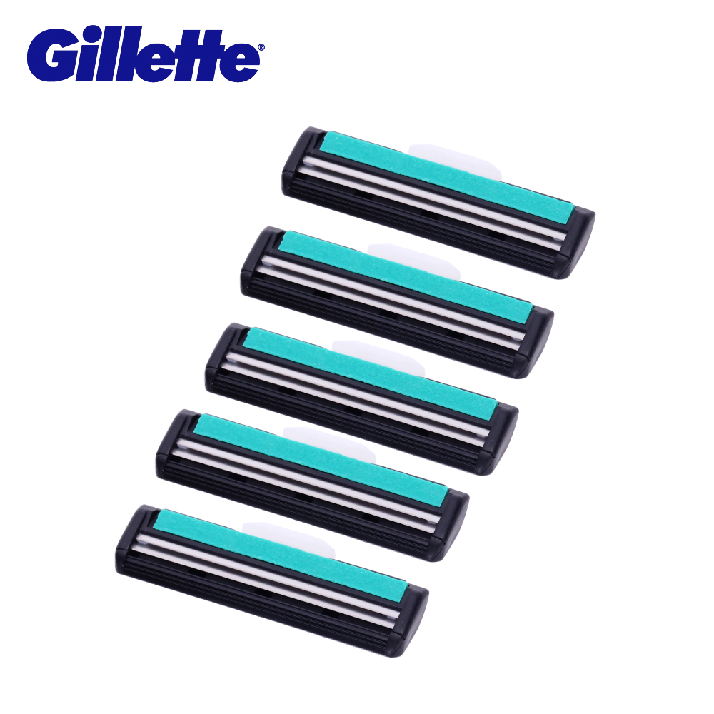 Gillette Vector Shaving Razor Blades For Men Manual 2 Layer Shaver Cuchillas De Afeitar Beard 5pc Shaving Blade Replacement Head